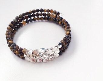 Beaded wrap bracelet, memory wire bracelet, bangle bracelet, beaded bracelet, wrap bracelet