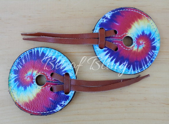 Tie Dye Leather Bit Guards Rainbow Horse Tack Rodeo Barrel Racing Trail Riding Pole Bending