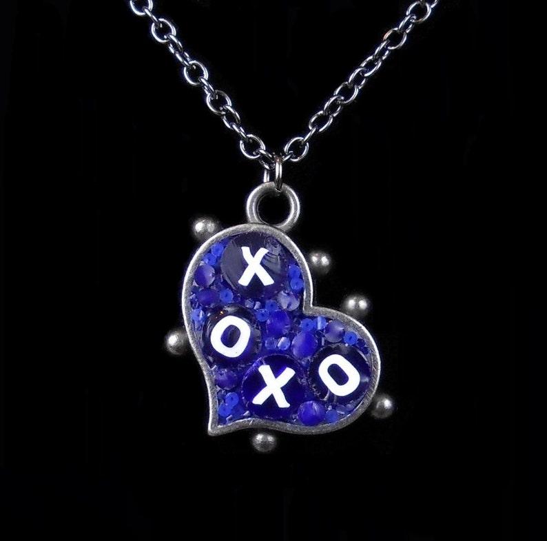 Delightful Pendant / Blue & White XO Micro-Mosaic Mini Heart/ image 0