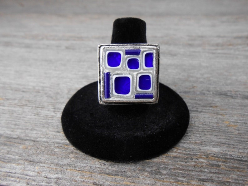 Trendy Adjustable Ring / Blue and Pearlescent Clear Millefiori image 0