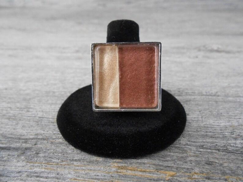 Elegant Adjustable Ring / Warm Brown & Champagne Beige Square image 0
