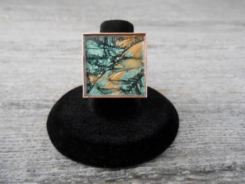Elegant Adjustable Ring / Green & Copper Square in Mosaic / image 0