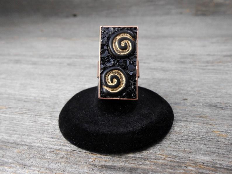 Stylish Adjustable Ring / Copper Swirl Micro-Mosaic / JR581 image 0