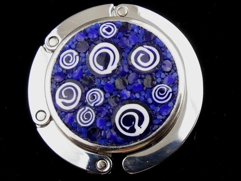 Elegant Purse Hanger / White and Blue Spirals Micro-Mosaic / image 0