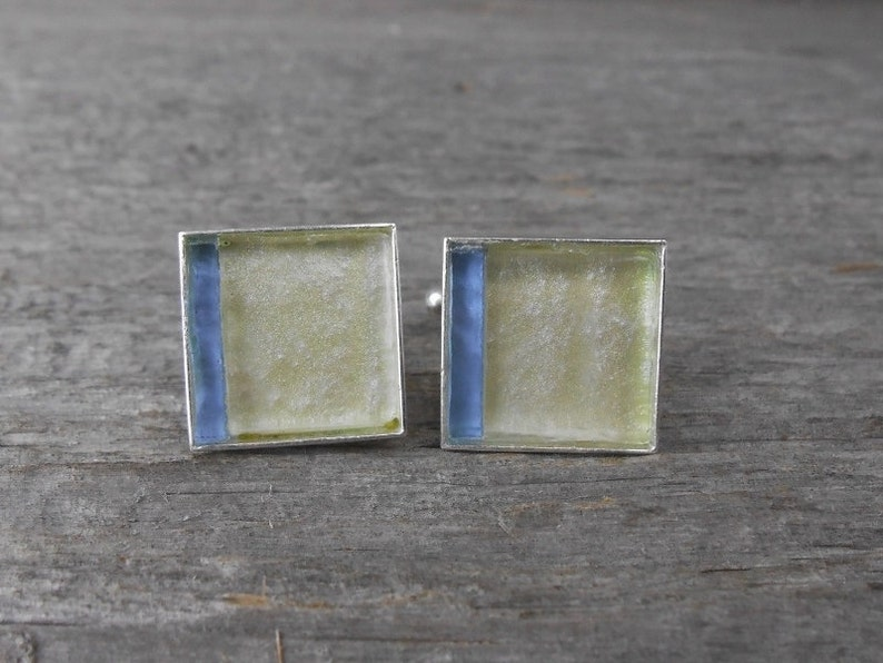 Elegant Cufflinks / Blue & Yellow Square in Mosaic / JC416 image 0