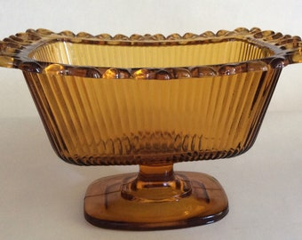 American Amber Glass Oblong Pedestal Vase