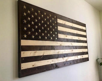 """Burned Wood American Flag with .50 caliber """"Star"""" casings Wall Art"""