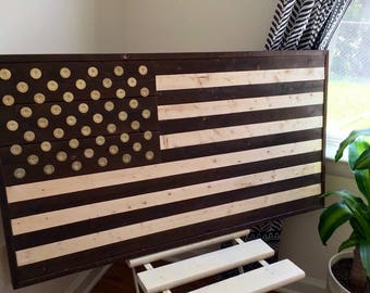 """Burned Wood American Flag with Winchester Shotgun shell """"Star"""" head stamps Wall Art"""
