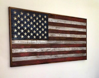 """Burned Wood American Flag with .50 caliber """"Star"""" head stamps Wall Art"""