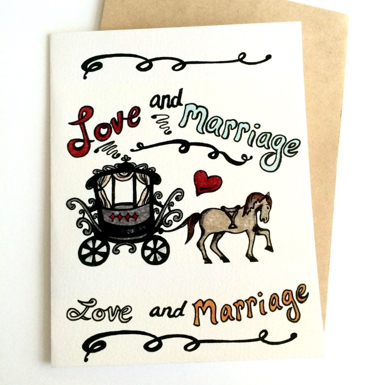 Blank inside Love and Marriage Frank Sinatra Horse and Carriage Hand Drawn WeddingAnniversary Card