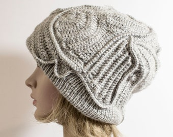 da397463c39 Knitted Lambswool Birds Hat Women unique knit hat