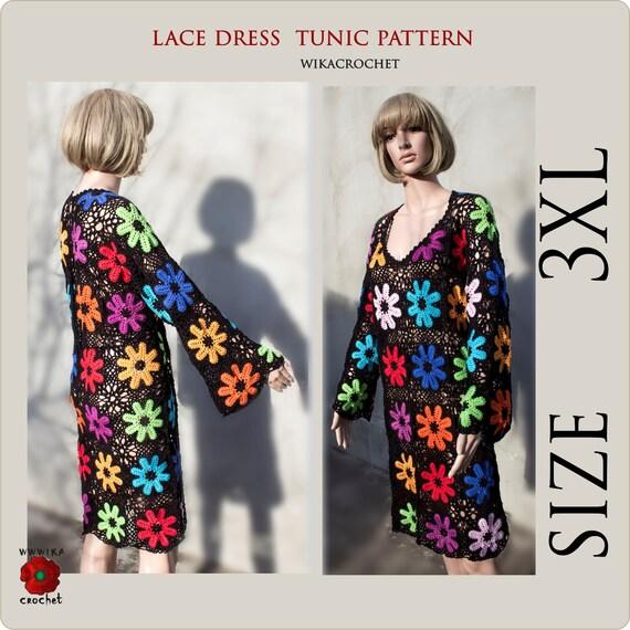 Crochet dress pattern Long sleeve tunic, Crochet beach tunic plus size  sweater pattern size 3XL