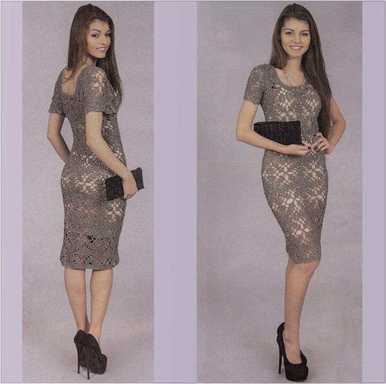 Crochet silver dress PDF pattern plus size womens clothing