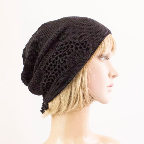 really cheap really cheap discount shop Summer chemo slouch hat women, Summer beanie hat, black cotton summer hat  for women