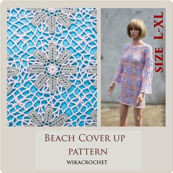 Crochet dress pattern for women plus size beach cover up pattern size L-XL