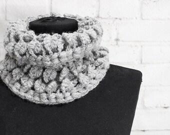Grey Crochet Scarf,  Gray Infinity Scarf,  Gray Neck Warmer, Crochet Snood, Crochet cowl Crocheting