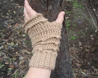 PDF.Fingerless Gloves/Mittens  Faerie Mitts, Womens Crochet Wool Blend Fingerless Mitts - Forest beige,crochet patterns Crocheting