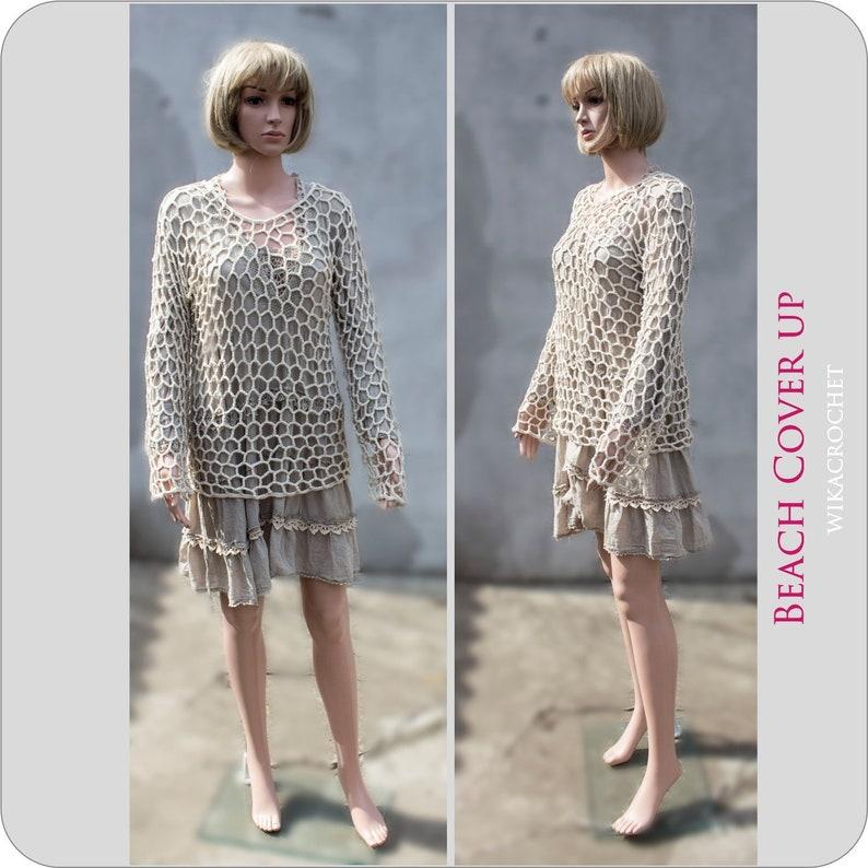 38106315a9 Crochet Beach Cover up Linen crochet top cream boho blouse | Etsy