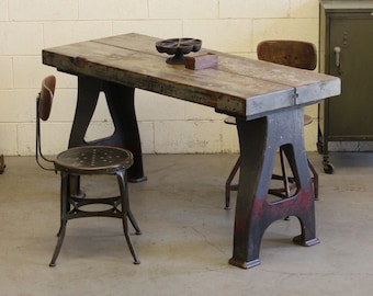 Vintage Industrial Antique Dining Table/ Console/ Desk/ Workbench W/ Cast  Iron Legs   1930s