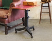 Vintage Antique Industrial Cast Iron quot Karlo quot Typewriter Laptop Side Table - 1920s