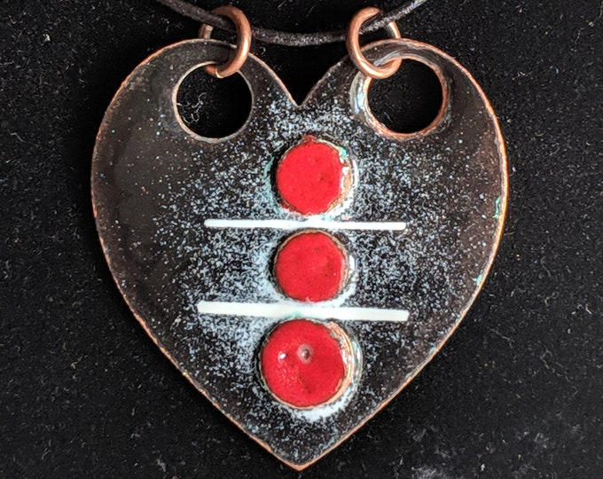 Heart in Pieces Fused Enameled Necklace