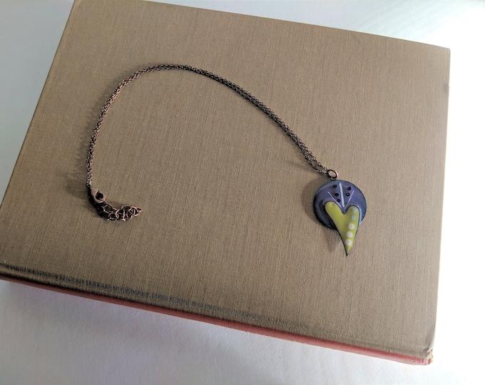 Heart Burst Fused Enameled Necklace