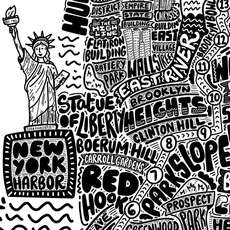 Personalised New York Marathon Route Map   Wall Art  Art Print