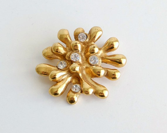 Vintage CHRISTIAN LACROIX gold plated and rhinestones brooch