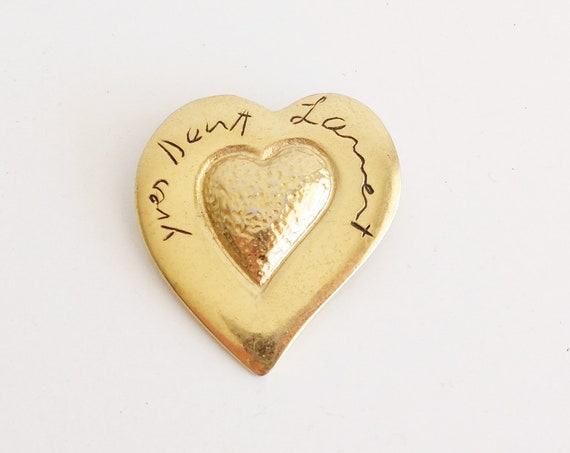Vintage YVES SAINT LAURENT Gold Plated Heart Brooch