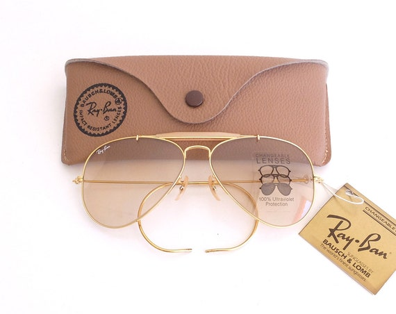 Vintage NOS B&L RAY-BAN Outdoorsman Changeable Brown 58mm Sunglasses