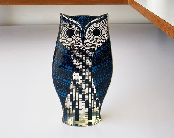 "Rare Large 7"" Op Art Abraham PALATNIK Blue Owl Lucite - Made in Brazil"