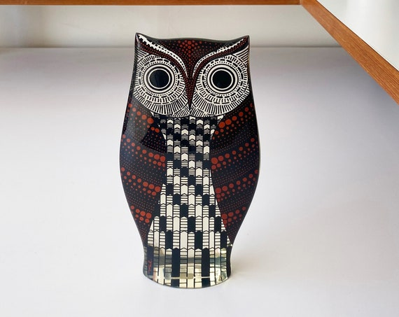 "Rare Large 7"" Op Art Abraham PALATNIK Red Owl Lucite - Made in Brazil"