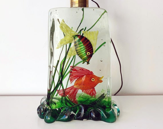 60s Murano aquarium art glass block lamp by Alfredo BARBINI for CENEDESE