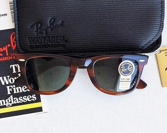 Vintage 80s B&L RAY-BAN Wayfarer L2053 G-15 Tortoise 50mm Sunglasses