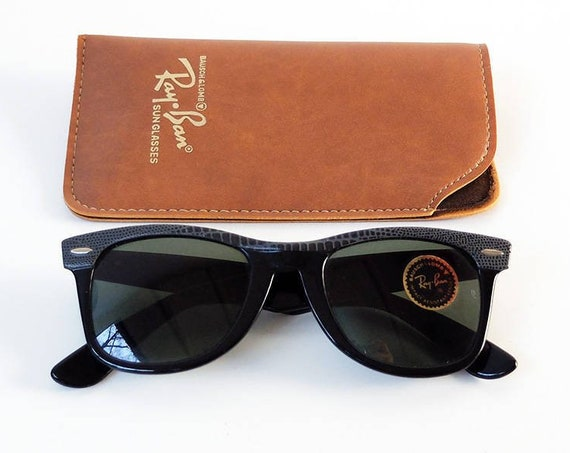 Vintage 80s B&L RAY-BAN Wayfarer Leather Sunglasses