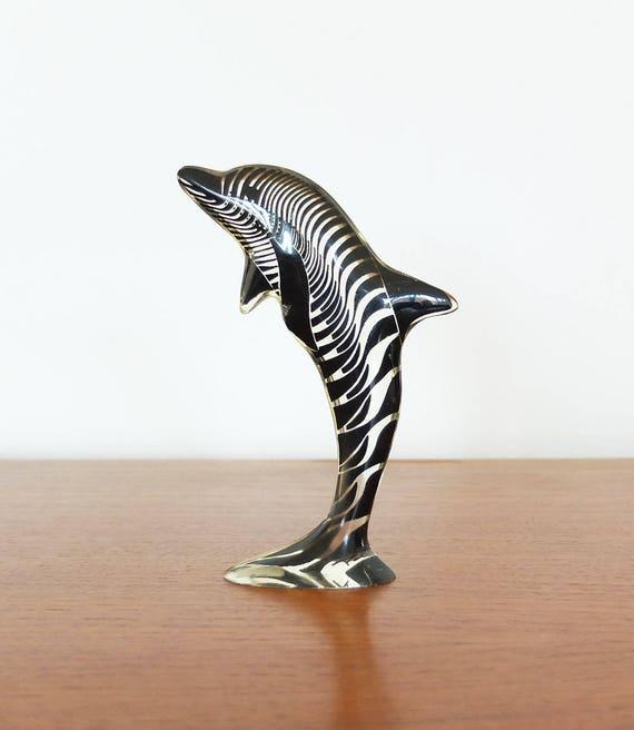 Vintage Op Art Abraham PALATNIK Dolphin Lucite Sculpture Signed - Made in Brazil 60s