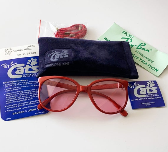 Vintage B&L RAY-BAN L0124 Changeable Pink Cats Sunglasses