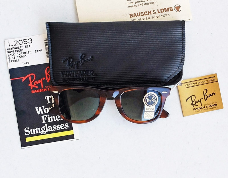 572aaef5d6 Vintage 80s B L RAY-BAN Wayfarer L2053 G-15 Tortoise 50mm Sunglasses