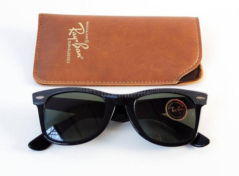 9473e71059 Vintage 80s B L RAY-BAN Wayfarer Leather Sunglasses