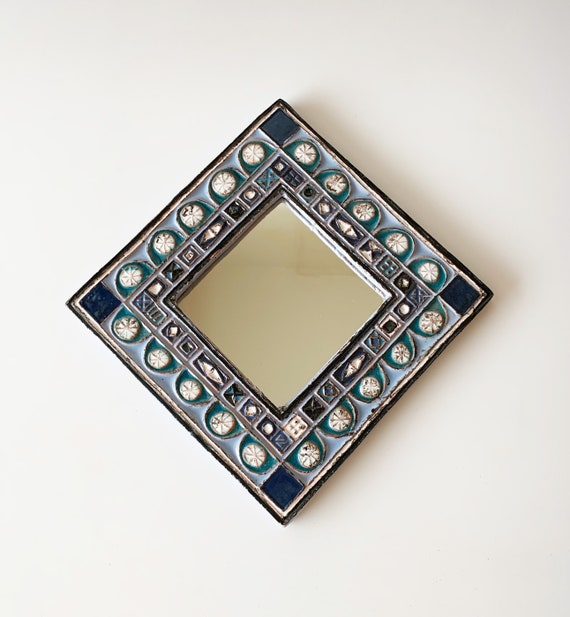 Miroir en céramique, Enameled ceramic mirror by Roland ZOBEL, 80s