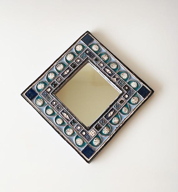 Miroir en céramique, Enameled ceramic mirror by Roland ZOBEL, 80s