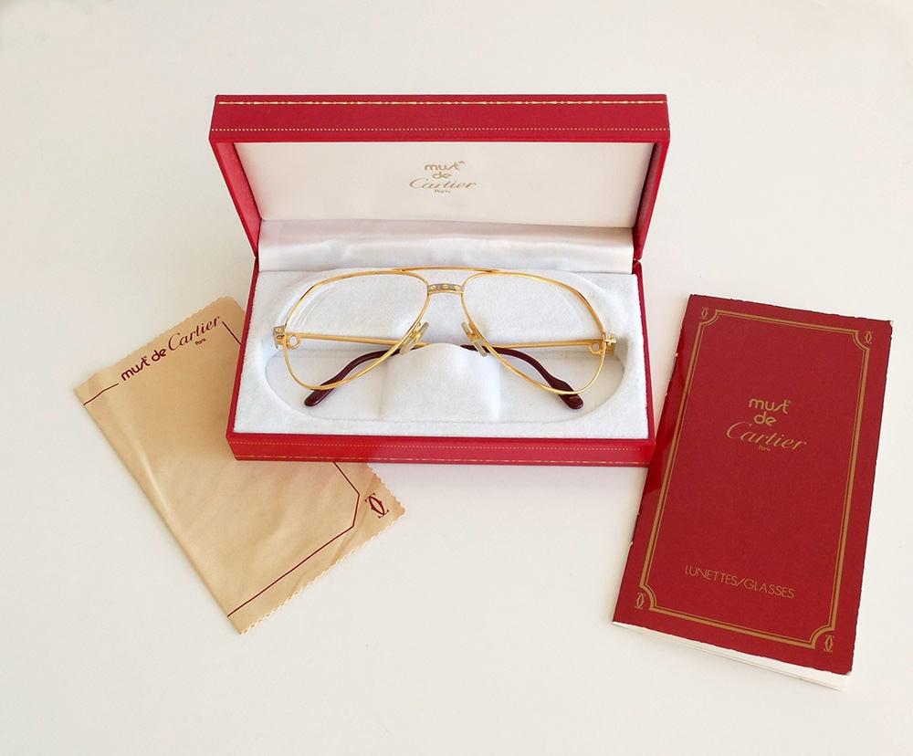 e6b30574a2b Authentic Vintage CARTIER Vendome Santos Aviator Sunglasses Frame 80s - Made  in France