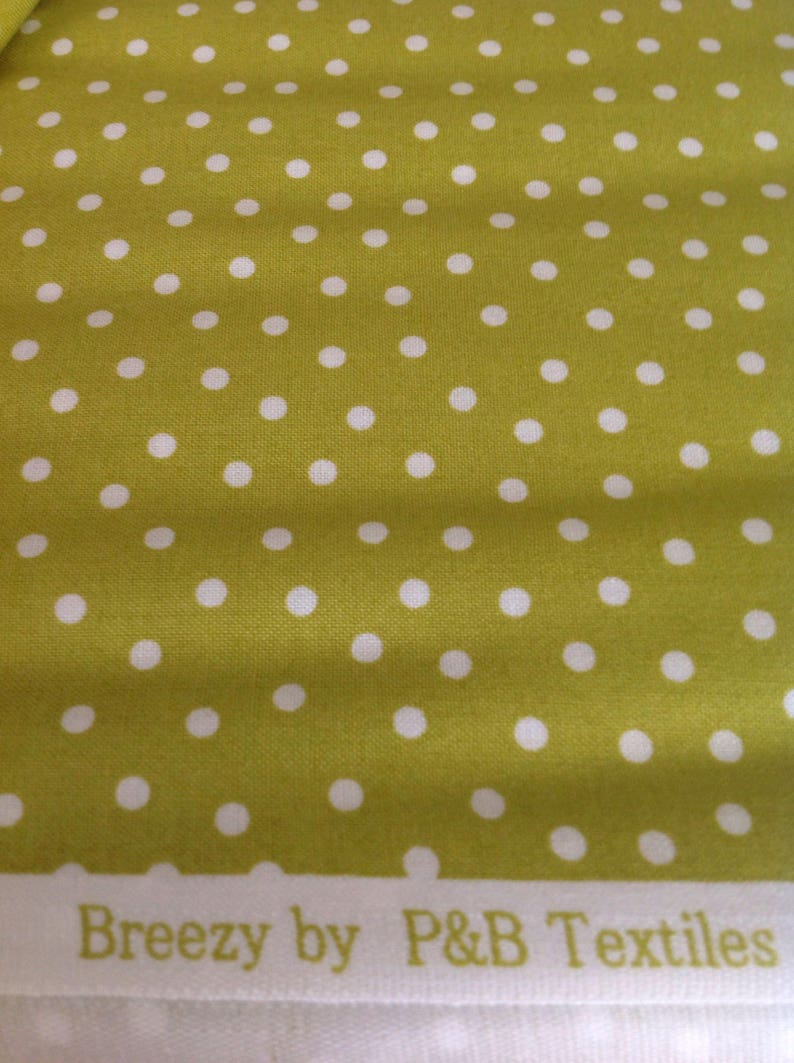 with White  Random  Dots, Green  Fabric Textured Basics Breezy by P /& B