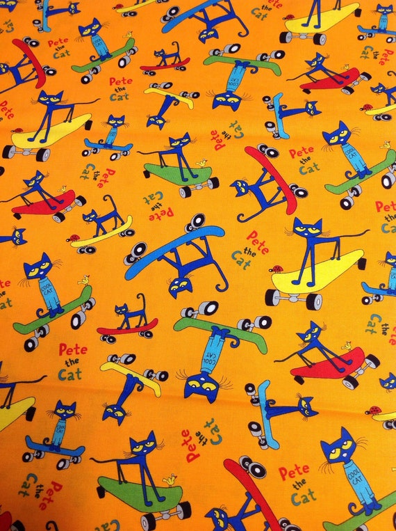Pete The Cat Playing Guitar Music Bright Orange Cotton Fabric t5-30
