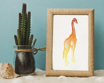 Giraffe Print, Nursery Decoration, 8x10 Print, 5x7 Print, Children's Room Print, Nursery Art, Kid's Room Wall Art, Orange Giraffe Animal Art
