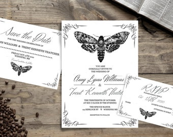 Moth, Deaths Head Hawk Moth wedding invitations downloadable package to edit and print