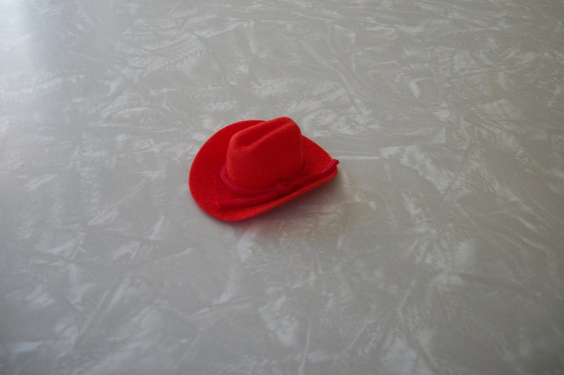 ca15d39d9 Miniature Flocked Cowboy Hat Western Style with Rope Mini Band Red  Dollhouse Approx 2x2 Vintage Made in Taiwan New in Package