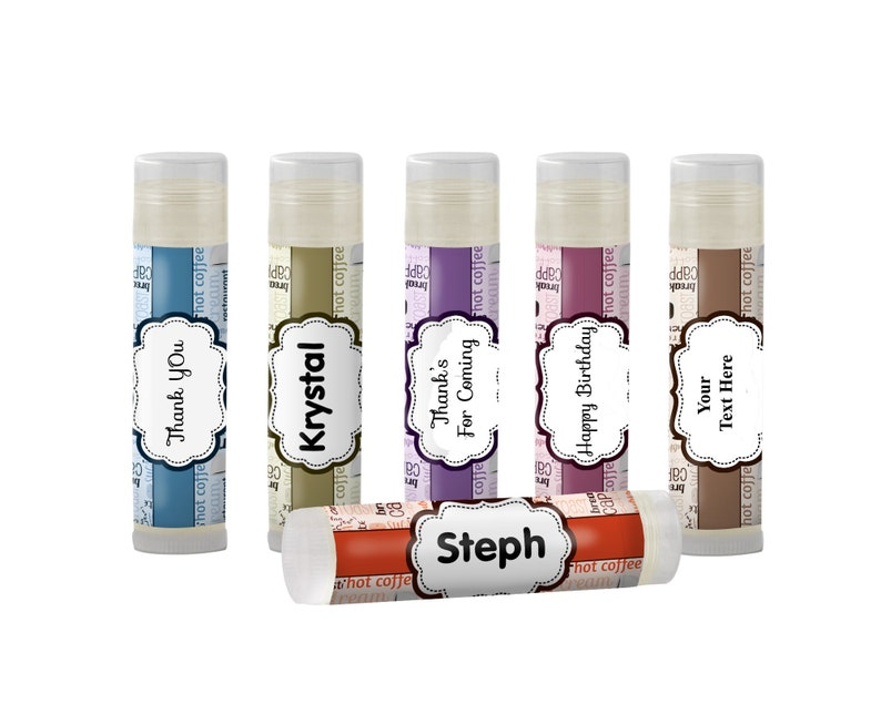 Ccoffee Lovers Theme Personalized Lip Balm Party Favors Set of  6 Coffee Club,Coffee Addict,Coffee Party Favors