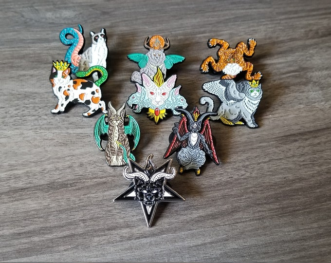 Infernal Felines Enamel Pins Full Set