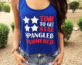 4th of July. 4th of July Outfit. 4th of July Shirt. 4th of July Tank. Time-To-Get-Star-Spangled-Hammered. American Flag Tank Top. Flag Tank